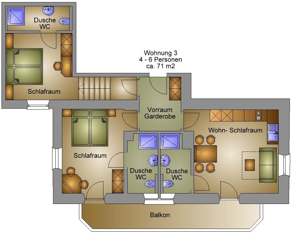 ferienwohnung 3 f r 4 bis 6 personen im haus sebastian in. Black Bedroom Furniture Sets. Home Design Ideas